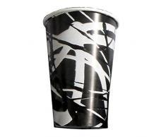 PZ 225 BICCHIERI CC 370 DI CARTA (ALTI CM 12 DIAMETRO CM 7) BIANCHI E NERI PAPER CUP FOR DRINKS PER GRANITE FRAPPE E COCKTAIL