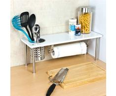 bremermann® mensola per la cucina con porta-rotolo e porta-utensili, colore bianco