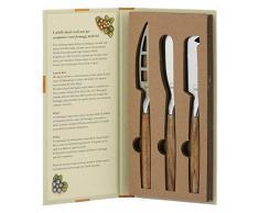 THUN - Set 3 Coltelli da Formaggio, in Confezione a Libro - Accessori Cucina - Linea Country - Acciaio Inox e Legno dAcacia - Coltelli tra 23,5 e 25 l cm