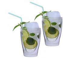 2 tazze da 280 ml, XL, a doppia parete, per latte macchiato/cocktail/tè/succo e acqua, termici, con effetto ondulato, marchio Feelino