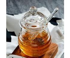 PQZATX Trasparente Barattolo di Miele Vetro con Coperchio Vaso del Miele con Dipper, Chiaro, 9 Once