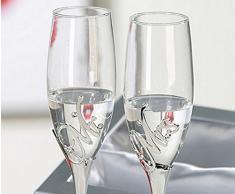 Casa blanca - Set di 2 bicchiere per champagne Mr, + Mrs. in metallo/vetro , Argento in argento confezione regalo altezza 27 cm , Diametro 7 cm