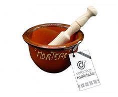 Ceramica rambalena   Mortaio cucina   Mortaio in ceramica   Mortaio con pestello   Mortaio in terracotta rossa   100% decorato a mano   15 x 15 x 10 cm