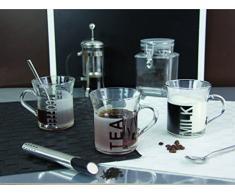 Quid 5080088 - Set di 6 tazzine da caffè in porcellana Sidamo, da 33,5 cl, colore trasparente