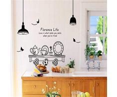 Autoadesivo staccabile 60 * 90cm della parete di stile della coltelleria della cucina del vinile di arte