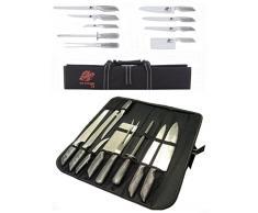 Coltelli/Coltello da cucina professionali in acciaio inox set 8 pezzi in custodia - Ideale anche per sushi