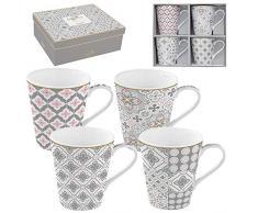 Easy Life 128 cmtg Confezione 4 mug in porcellana fine Coffee Mania Tiles Grey, 0.3 liters, Multicolore