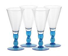 Set 4 coppe per gelato, coppe in vetro~FLORENZ~ Blu marino, 20,5 cm, Vetro trasparente(GELATO VERO powered by CRISTALICA)