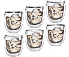 Azione: 6 x 320 ml Bicchieri Vetro termico con effetto ondulato, tè/caffè in vetro per cappuccino, latte caffè, tè, tè freddo, succhi, dessert o come adatto, 36R by Feelino gelato
