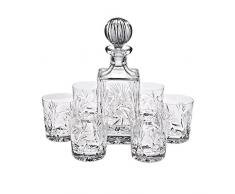 "6 Bicchieri da whisky + Decanter ""ROTATION STAR"", 7 pezzi per whisky, cristallo al piombo brillante, consegnato in una scatola regalo, stile moderno (GERMAN CRYSTAL powered by CRISTALICA)"