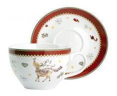 HOME Confezione 2 Tazze Jumbo Porcellana Natale Cc450 con Piatti Arredo Tavola, Multicolore