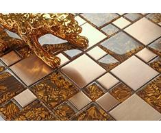Piastrelle in Vetro e acciaio inox spazzolato, a mosaico mattonelle in oro (MT0087) la spessore è di 8 mm per pareti