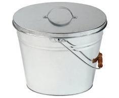 Jago Secchio ovale portacenere per cenere con coperchio in ferro capacità 14 litri