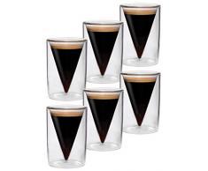 Set DI 6 70 ml Espresso a doppia parete e bicchieri da liquore in vetro con design a punta t.b.d.-effetto, ideale per caffè, liquori, liquori e Grappa, Spikey di Feelino