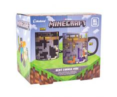 Paladone PP6585MCF XL - Tazza grande sensibile al calore, regalo perfetto per giocatori e fan di Minecraft, ideale per caffè e tè, 550 ml, in gres porcellanato
