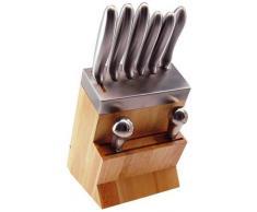 Tarrerias Bonjean - 418810, Blocco in legno con 5 coltelli da cucina, 1 mezzaluna e 1 acciaiolo