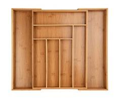 ONVAYA® Portaposate allungabile in bambù | inserto per posate | inserto per cassetto | design vintage