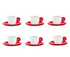 Guzzini 26690165 Rosso Trasparente Set 6 Tazzine Da Caffe Con Piattino Gocce San Porcellana