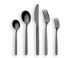 Berglander Set 30 posate in titanio nero placcato, 30 pezzi Set di posate nero, set in argento nero, servizio per 6 (nero lucido)
