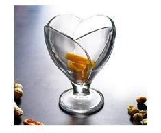 Ykun Vetro Importato Europeo con Loto, Coppa da Dessert per Snack, Coppa per Gelato Alta, Coppa per Gelato a Forma di Fiore-A1
