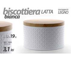 Gicos Barattolo biscottiera Contenitore in Latta Bianca 12 * 19 cm 3,1 lt Tonda con Tappo in Legno SES-724091