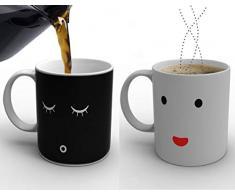 Sonline Nuovo tazza caffe' Acqua Latte modello viso sorridente magico sensibile al calore Cambia colore
