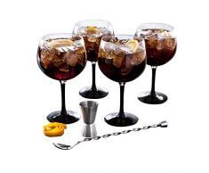 Luminarc - Fiesta Combinados, Set per cocktail a base di rum, 6 pz, incl. 4 bicchieri con base colorata, misurino e cucchiaino