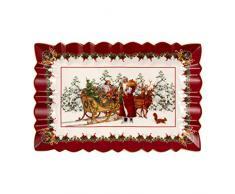 Villeroy & Boch Toys Fantasy Piatto per Torta a Forma di Babbo Natale con Slitta, Porcellana, Multicolore, 35 x 23 x 3,5 cm