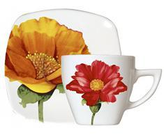 Home Quadro Holly Servizio Tazze tè, con Piattino, Porcellana, Bianco/Decoro Fiori, 4 Pezzi