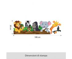 Wall Art R00145 Wall Sticker per bambini schwatzhafte animali, Wallpaper, Multicolore, 100 X 30 X CM