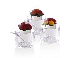 Montemaggi Zuccheriera in acrilico ovoidale decoro frutti con cucchiaino