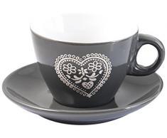 HOME Confezione 4 tè con Piatto Cuore Grigio Preparazione Arredo Tavola, Porcellana, 4 Pezzi