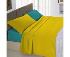 Italian Bed Linen Natural Color Completo Letto Double Face, 100% Cotone, Ocra/Verde Bottiglia, Una Piazza e Mezza