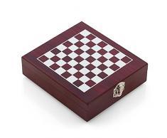 Oramics, accessori per vino e scacchi, 2 in 1, Scatola per appassionati di vino e sommelier, Scatola in legno con scacchiera stampata, figure degli scacchi e accessori per vino