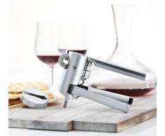 LE CREUSET LM-G10 Cavatappi Professionale e Taglia Capsule, Stappatura di Bottiglie di Vino, Alluminio Satinato, Argento