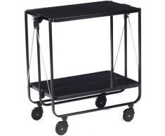Leifheit Side-Car Carrello cucina nero salvaspazio, Carrello vassoio doppio con rotelle per rotazione a 360°, Carrello portavivande a 2 ripiani