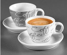 Ritzenhoff & Breker Cornello Set da Espresso: 2 Tazzine con Piattini in Porcellana, Grigio, 80ml