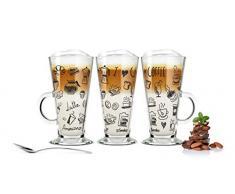 Sendez 6 Bicchieri per Latte Macchiato e 6 cucchiaini in acciaio inox (gratis) Bicchieri tè con Nera caffè di stampa