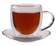 Feelino Bullini - Termo tazza a doppia parete con manico e sottotazza, preziosa tazza in vetro con e
