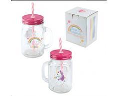 Puckator Enchanted Rainbow Bicchiere Barattolo con Tappo e Cannuccia-Unicorno, Rosa