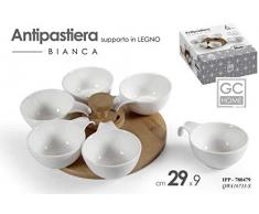 GICOS IMPORT EXPORT SRL Antipastiera Bianca Ceramica 6 posti con Supporto in Legno 29 * 9 cm IPP-780479