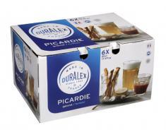 Duralex Picardie bicchiere da acqua 500ml, senza contrassegno di riempimento, 6 bicchiere