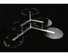 Alzata per torta, alluminio e plexiglas, 3 piani, per matrimonio, 5 dischi Ø 30 cm