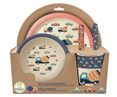 POS Handel GmbH 30747 - Set da colazione in bambù, 5 pezzi, con motivo retrò con cars, piatto, bicchiere, ciotola, forchetta e cucchiaio, privo di BPA, ftalati, multicolore