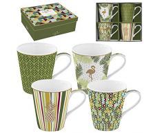 Easy Life 128 cmtp Confezione 4 mug in porcellana fine Coffee Mania tropicale, 0.3 liters, Multicolore