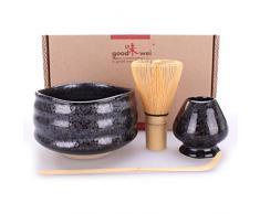 Goodwei Confezione Tè Matcha Giapponese - Set di Lusso Contiene Tazza da Cerimonia, Frullino di bambù e Porta Chasen (80, Tetsu)