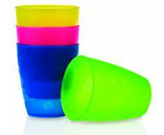 Nuby ID65662 - Confezione da 4 bicchieri in polipropilene da 270 ml, mesi 12+