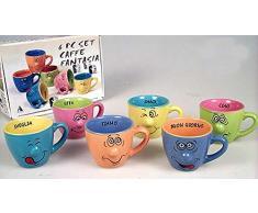 Idea cucina: Confezione 6 tazze da caffè umoristiche colorate decoro con smorfia e messaggio