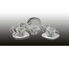 "Van Well - Servizio da caffè ""Theresa"", tazzine da 11 cl e piattini da 12,3 cm, 6 pezzi"