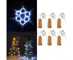 XCSOURCE Vino filo tappo della bottiglia decorazione 1m 20 LED 6pcs a forma di tappo di sughero a forma di stella notte stellata di rame partito della lampada per il matrimonio bianco freddo Natale LD958 [Efficienza energetica classe A +++]